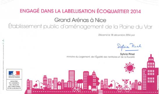 Labellisation ÉcoQuartier du Grand Arénas