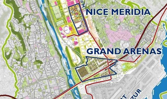 Carte de situation des ZAC de Nice Méridia et du Grand Arénas